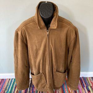 Columbia Heavy Suede Style Jacket Zipper Brown XL